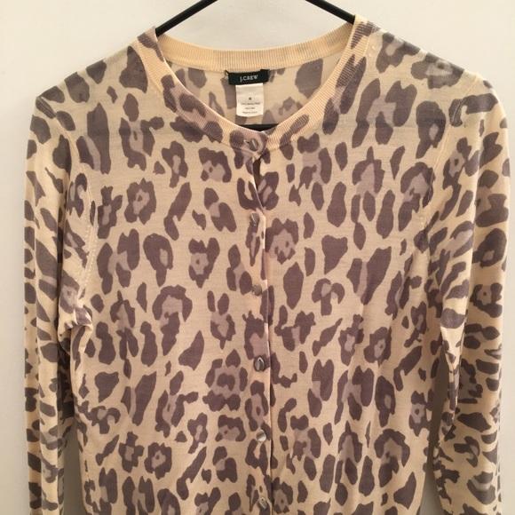 7a92392d1118 J. Crew Sweaters | Jcrew Leopard Print Merino Wool Cardigan | Poshmark